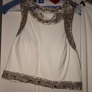 Faviana- two piece white and gold embroidered gown